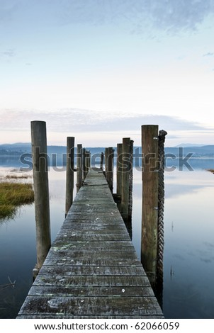 Blue evening, jetty, Tamar river, Tasmania