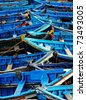 Blue fishing boats in Essaouira, Morocco, Africa - stock photo