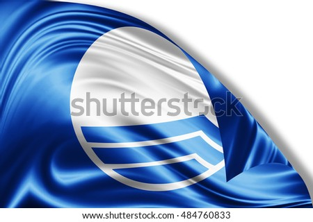 Blue flag of silk-3D illustration