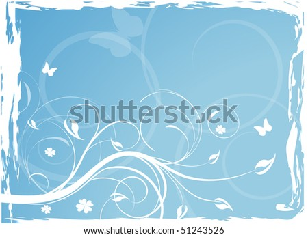 Blue floral background with butterflies. Vector version available