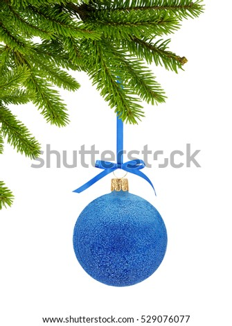 Blue Glitter Christmas decor ball on ribbon on green tree branch isolated on white background