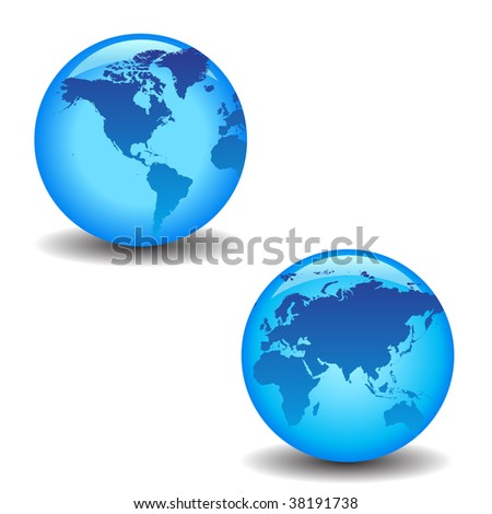 blue globes with continents and shadows