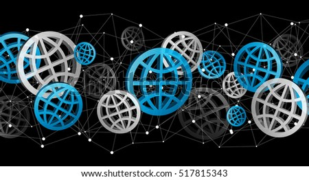 Blue grey and black digital web icons on black background 3D rendering