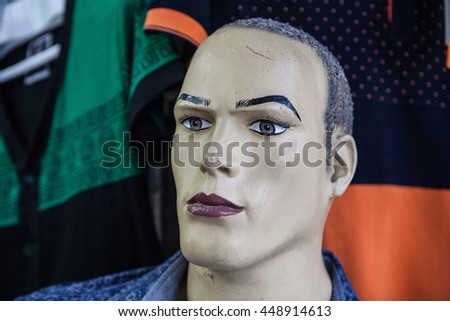 Blue haired male mannequin in Iran