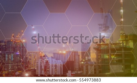 Blue hexagon abstract cyber future technology concept illustration background with city construction, the future business.