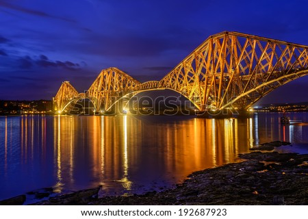 blue hour at Forth Rail Bridge over the Firth of Forth, Edinburgh, Scotland, UK