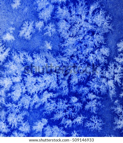 Blue ice abstract background. Hand drawn watercolor painting