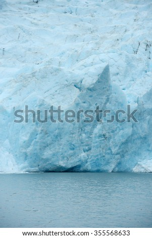 blue ice of portage glacier in alaska