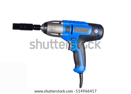 Blue impact gun with socket side view isolated on white background