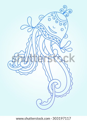 blue line drawing of sea monster, underwater decorative medusa, graphic design element for print or web, raster version