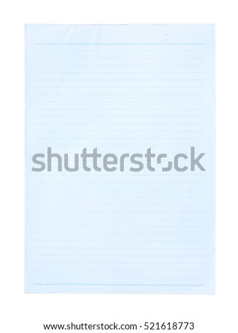 Blue Lined Paper isolated on white background
