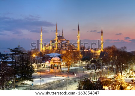 Blue Mosque, Sultanahmet on winter night.