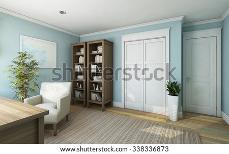 Blue Office Room in Country House  3d Rendering