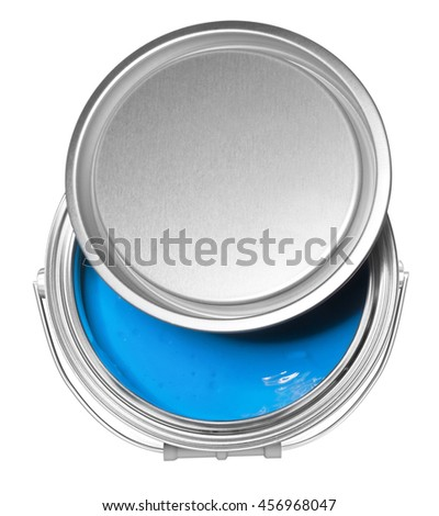Blue paint can and cover, isolated on white background