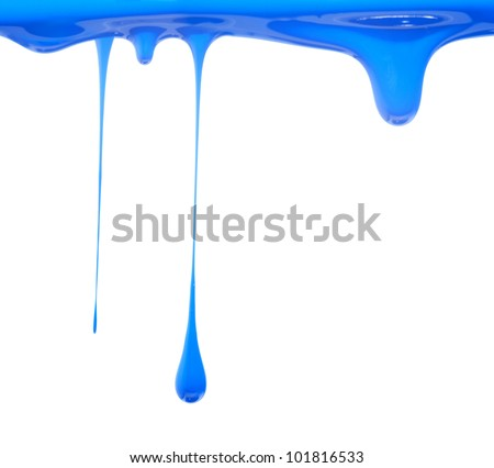 Blue paint dripping