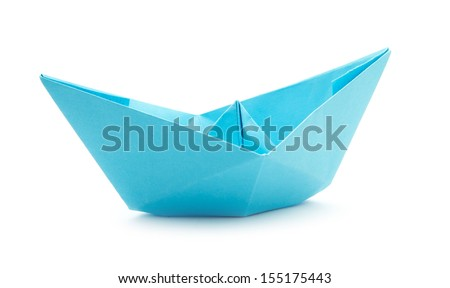 blue paper boats isolated on white background