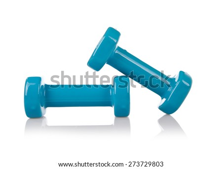 Blue PCV gym dumbbells, sport accessory isolated on white, two vinyl or plastic coated hand weights, kilogram weigh in horizontal orientation, nobody.