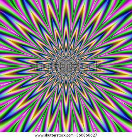 Blue Pink Green and Violet Star Burst / A digital abstract fractal image with an optically challenging exploding star design  in pink, green, blue, and violet.