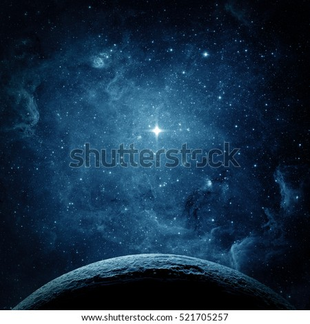 Blue planet and galaxy. Elements of this image furnished by NASA.