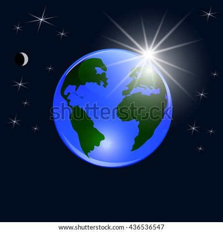 Blue planet earth. View from space to the ground and the rising sun. Stylized glossy ball. Raster illustration