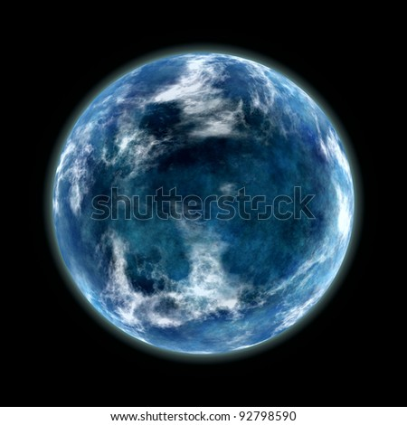 blue planet isolated on black