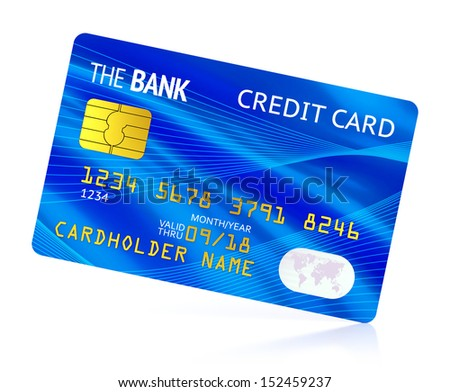 Blue plastic bank credit card isolated on white background with reflection effect