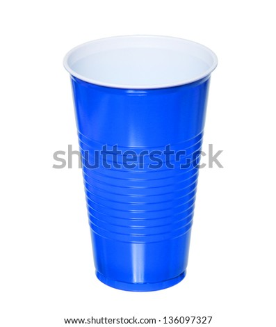blue plastic cup one time use isolated on white background with clipping path.close up