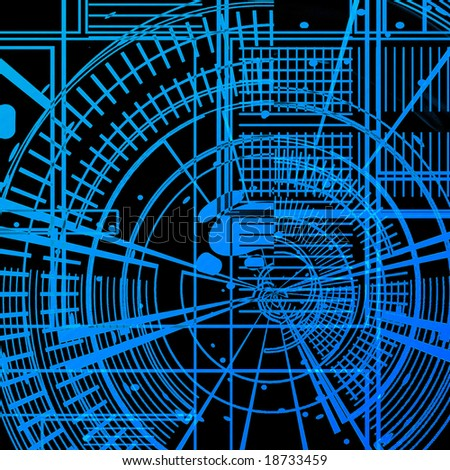 Blue print on a solid black background