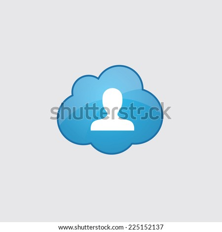 Blue profile icon, isolated on gray background