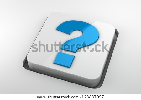 blue question mark key on white background