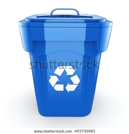 Blue Recycling Bin, 3D illustration