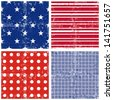 blue red white star stripe dot square geometric elements in horizontal and vertical rows grunge seamless pattern decoration background set raster version - stock photo