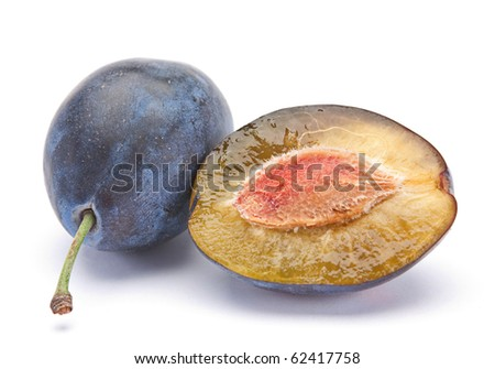Blue ripe plum fruit closeup isolated on white