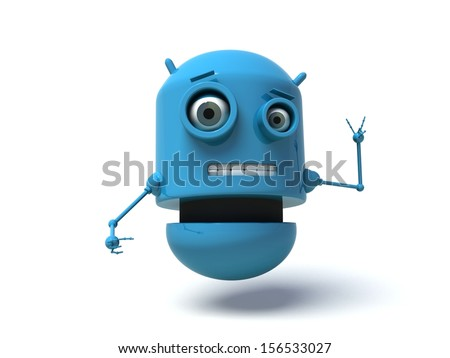 Blue robot doing the peace sign with his fingers. 3d render. Isolated on white background.