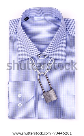 Blue shirt with a padlock and chain top view isolated
