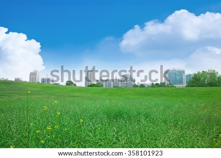 Blue sky and grassland. (Olympic park in Korea.)
