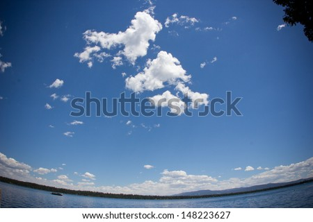 Blue sky and lake view