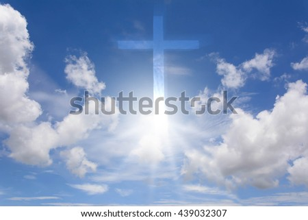Blue sky. Gradient Sky. Sky with clouds. Sky and sunrise. Sky and Sunlight with cross