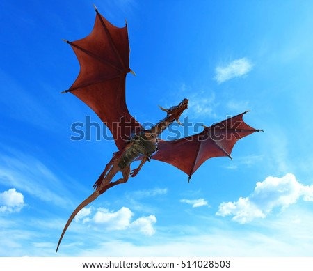 blue sky red dragon war flying out 3d illustration