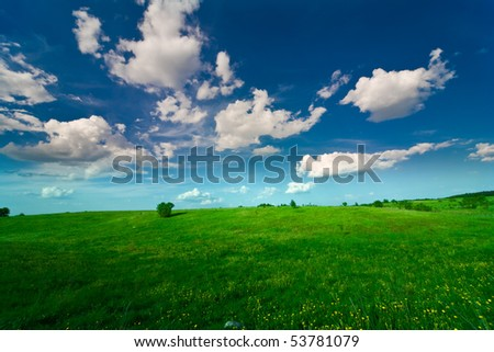 Blue sky with clouds and the green field