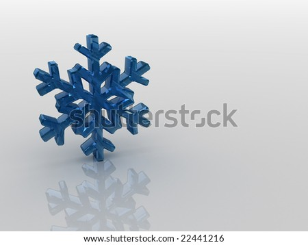 Blue snowflake on mirror surface