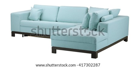 blue sofa isolated on white include clipping path