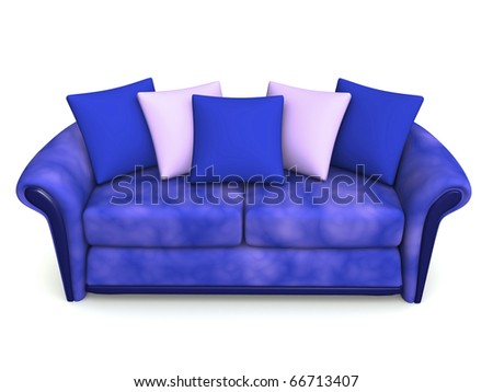 blue sofa with five squabs. 3d