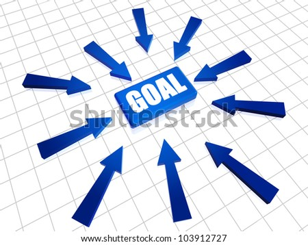 Blue text goal 3d box with arrows over white