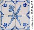 Blue tiles detail of Portuguese glazed. - stock