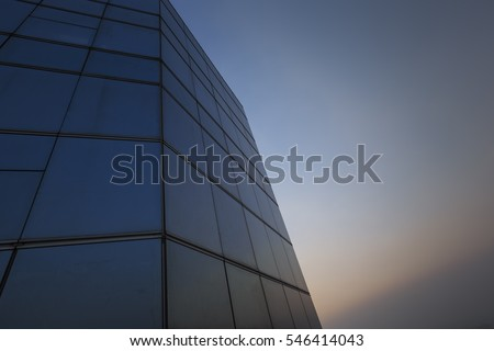 Blue tone window building texture as background