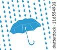 blue umbrella and rain drops - stock photo
