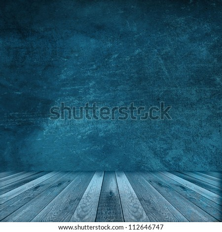 Blue wall and wooden floor interior background