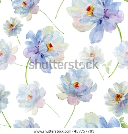 Blue Watercolour Flowers. Seamless background.