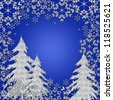 Blue Winter Wonderland Snow scene background (Illustration) - stock photo
